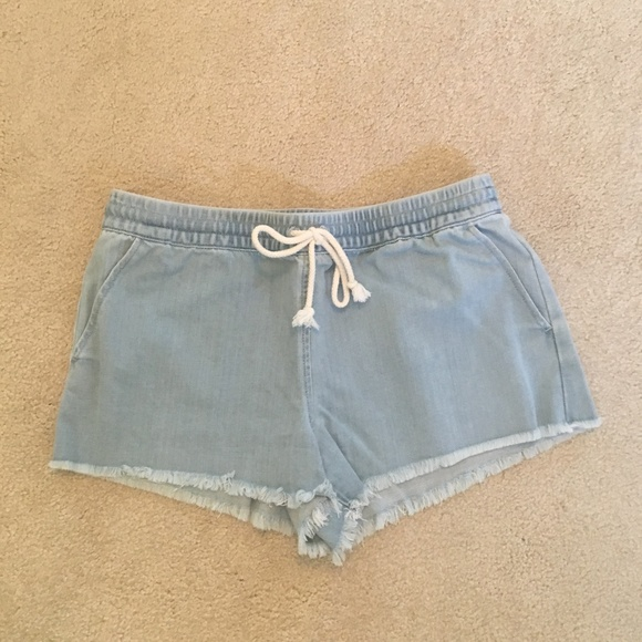 aerie Pants - Aerie Denim Cut Off Fringe Shorts